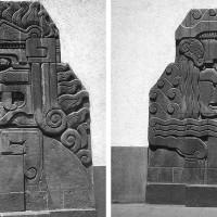 """Fig. 22. Bassorilievi """"Fuego"""" e """"Agua"""" posti nel 1928 a decorazione della nuova stazione dei pompieri. Si noti la mescolanza di elementi stilistici preispanici e art déco."""