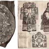 Fig. 6. Raffigurazioni della Piedra del Sol e della Coatlicue nell'opera di Antonio de León y Gama, 1792. (da Matos Moctezuma, Messico, La scoperta del passato, Milano: Jaca Book 2010).