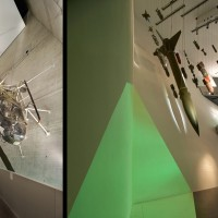 Fig. 4. Museo di Storia Militare (Militärhistorisches Museum der Bundeswehr), Dresda. Progetto architettonico di Daniel Libeskind, allestimento di Holzer Kobler e HG Merz, 2011. Veduta di due spazi espositivi