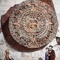 Fig. 7. La Piedra del Sol affissa alla base di una delle torri della Cattedrale di Città del Messico in una stampa ottocentesca.