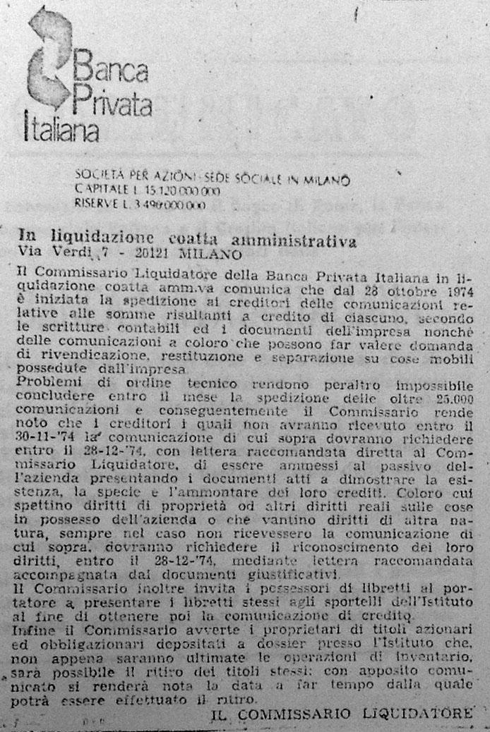 Comunicato 29.10.1974 del Commissario Liquidatore ai creditori (Il Giornale, 29/10/1974).