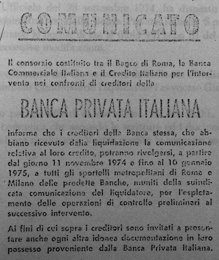 Comunicato delle Banche di Interesse Nazionale.