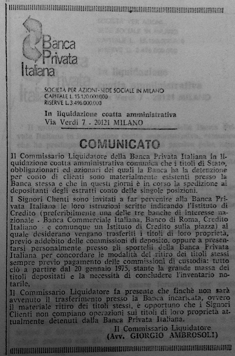 Comunicato per restituzione titoli (Il Sole 24 ore, 21/12/1974).