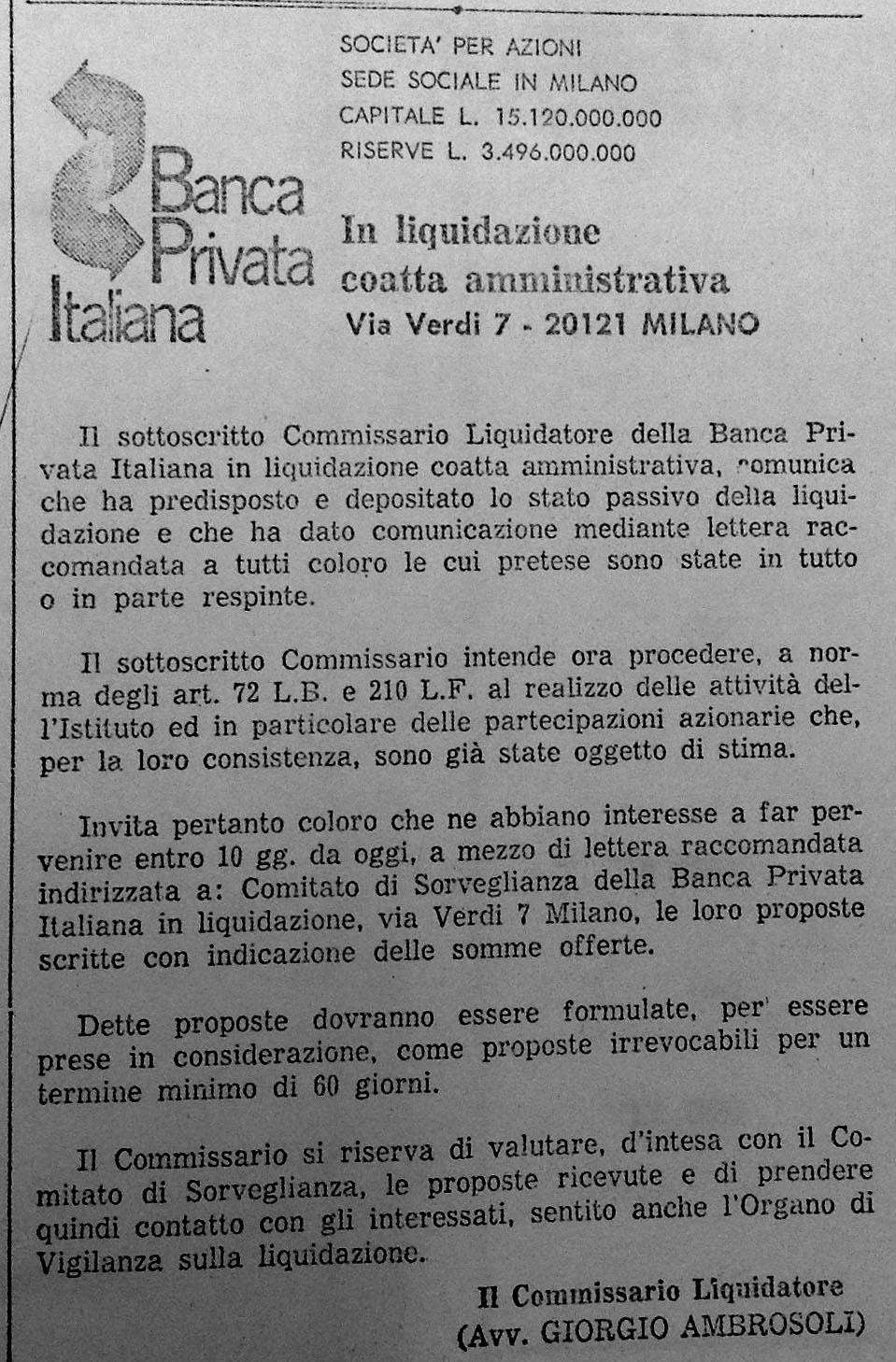 Comunicato per vendita partecipazioni (Il Giorno, 6/3/1975).