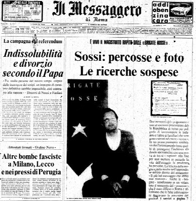 Le juge Mario Sossi, «Il Messaggero», 24 avril 1974
