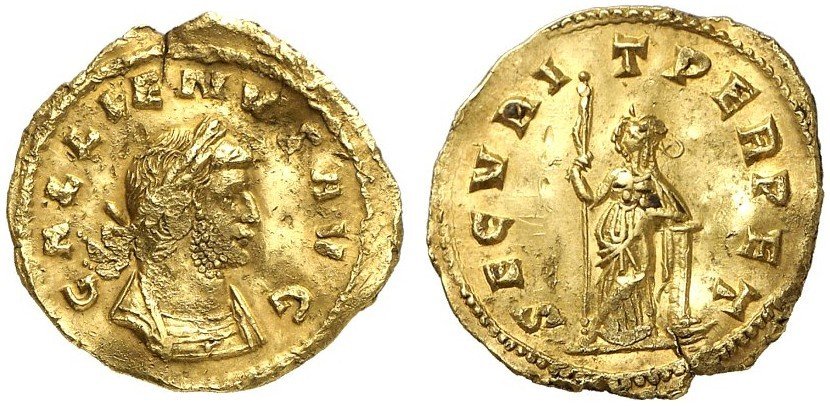 "Moneta d'oro dell'imperatore Gallieno (253-268). Divinità femminile: ""SECURIT(ati) PERPET(uae)"""
