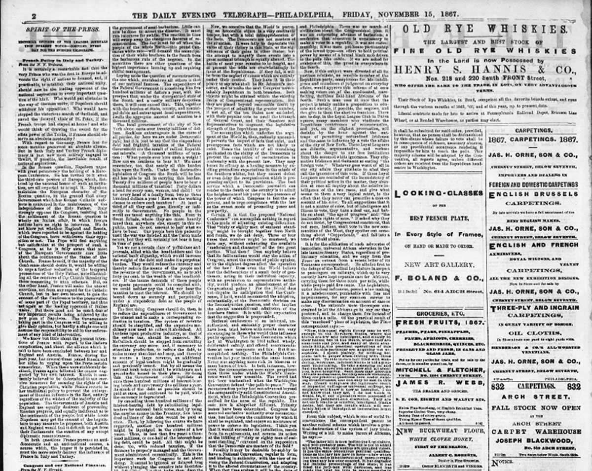 The Evening Telegraph - 15 novembre 1867 -Spirit of The Press