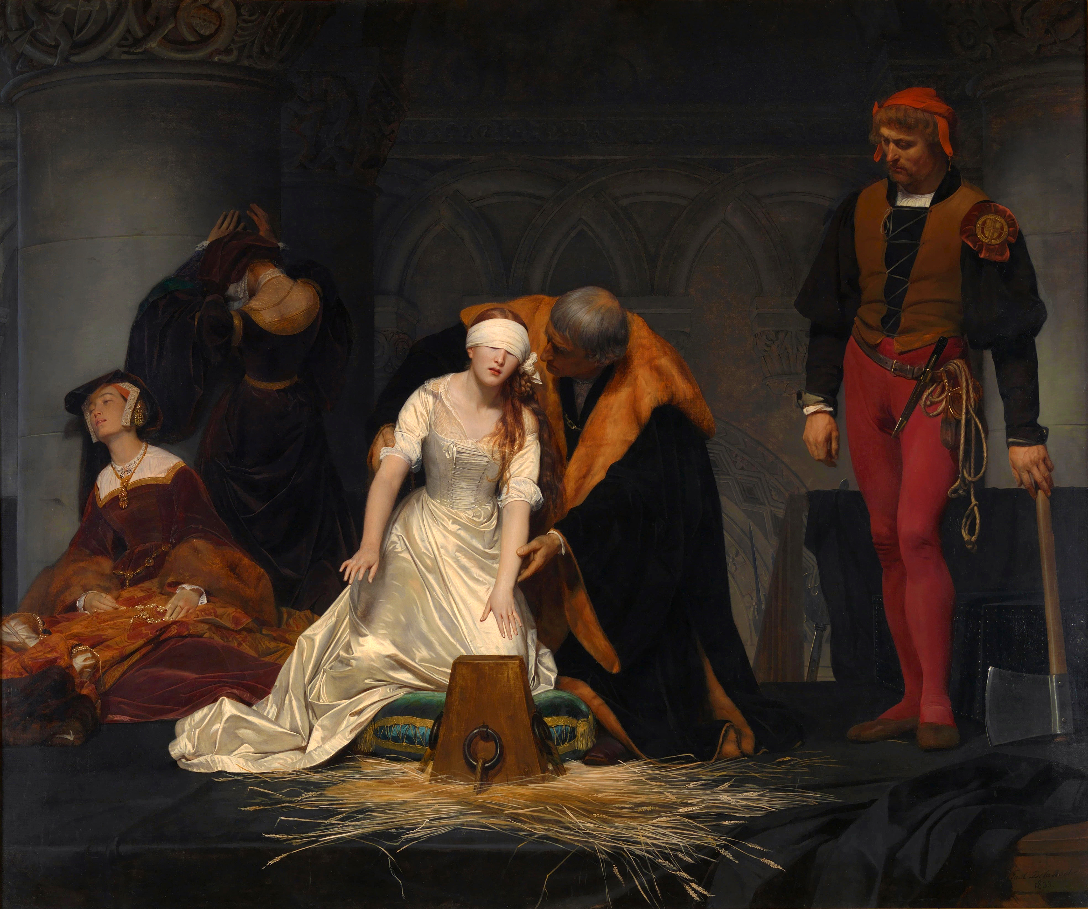 Paul Delaroche, The Execution of Lady Jane Grey, Oil on canvas, 246 cm × 297 cm, National Gallery, London (from the cover of Nationalizing the Past, Writing the Nation VI)