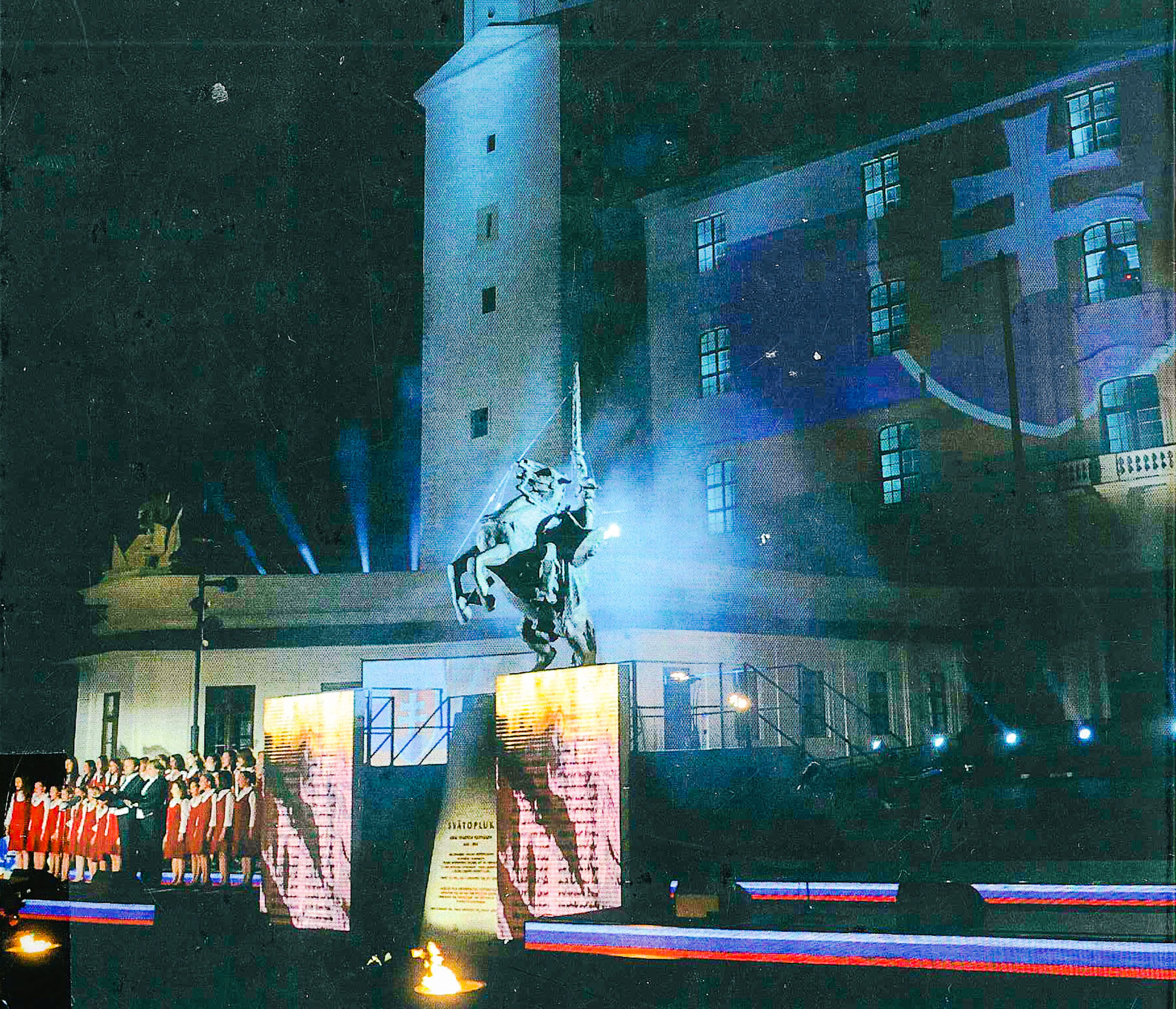 "The statue of Duke Svatopluk in unveiled in front of the castle of Bratislava on 6 June 2010 (from the cover of ""The Uses of the Middle Ages in Modern European States"", Writing the Nation VII)"