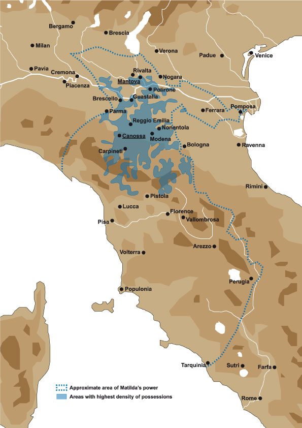 Fig. 1. Matilda's domains in central and northern Italy (Eugenio Riversi, 2016)