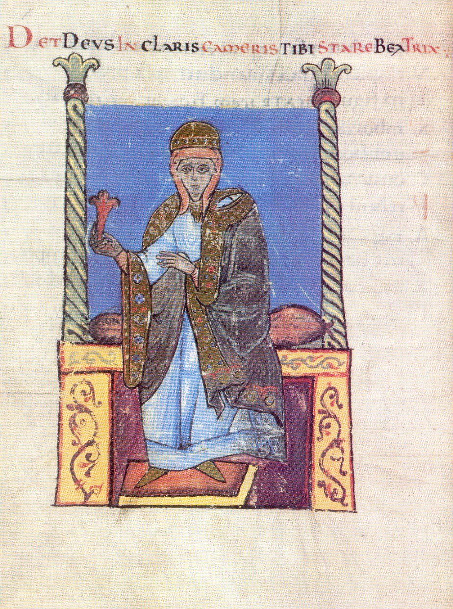 Fig. 4. «Det Deus in claris cameris tibi stare Beatrix». Ms. Vat. Lat. 4922, c. 30v.