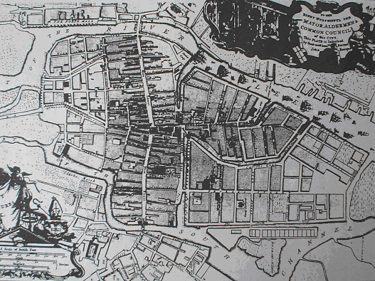 Cork nel 1774. Da: J.Connor, Map of the City and Suburbs of Cork , 1774