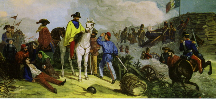 2. 1849: Garibaldi on his white horse defending Rome, as Anita tends to a soldier at his side.