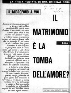 Il matrimonio è la tomba dell'amore? «Noi donne», 19 July 1959, p. 28.