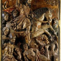 Fig. 1. Miguel Mauricio, bassorilievo raffigurante Santiago che affronta guerrieri aztechi, chiesa di Santiago Tlatelolco, 1611.