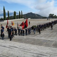 Fig. 7. Commemorazione falangista lungo la scalinata che conduce alla Basilica della Santa Croce, nell'anniversario della morte di Primo de Rivera e Franco.